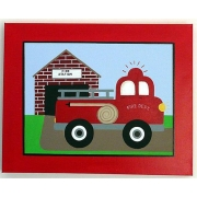 Artwork Childrens Room Decor - Fire Station Kids Wall Art Canvas